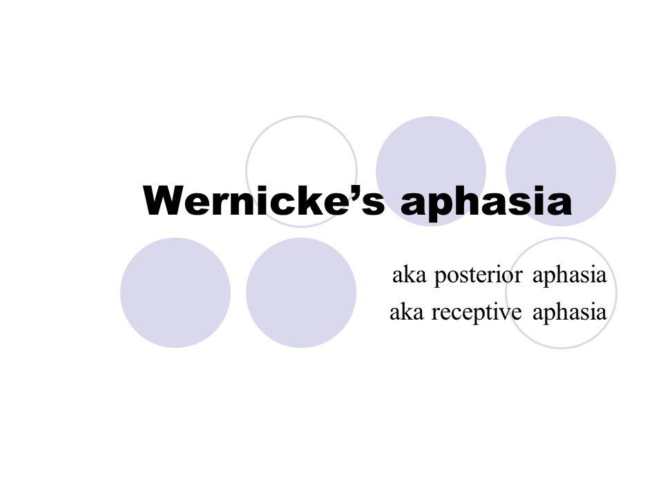 Wernicke's aphasia aka posterior aphasia aka receptive aphasia