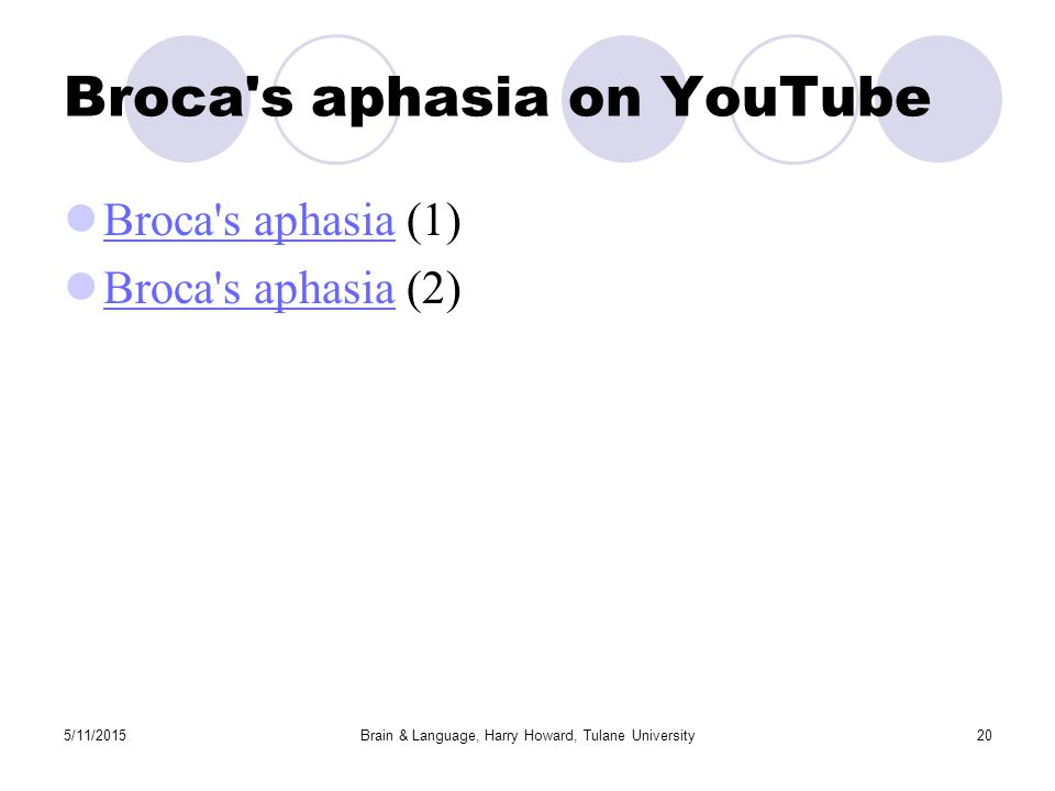 5/11/2015Brain & Language, Harry Howard, Tulane University20 Broca s aphasia on YouTube Broca s aphasia (1) Broca s aphasia Broca s aphasia (2) Broca s aphasia