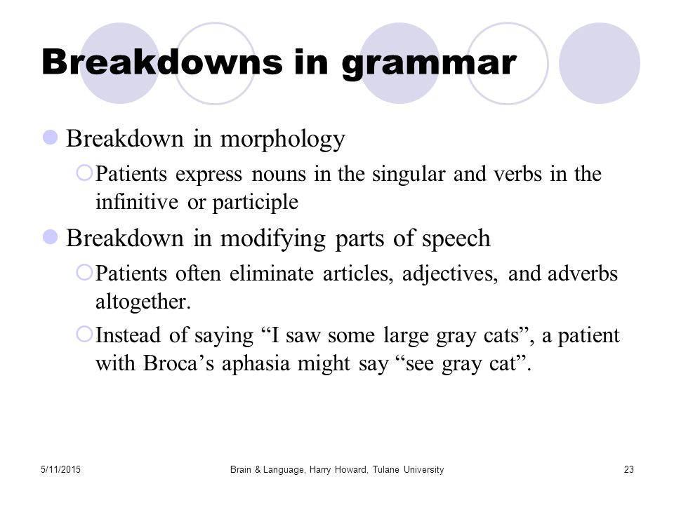 5/11/2015Brain & Language, Harry Howard, Tulane University23 Breakdowns in grammar Breakdown in morphology  Patients express nouns in the singular and verbs in the infinitive or participle Breakdown in modifying parts of speech  Patients often eliminate articles, adjectives, and adverbs altogether.