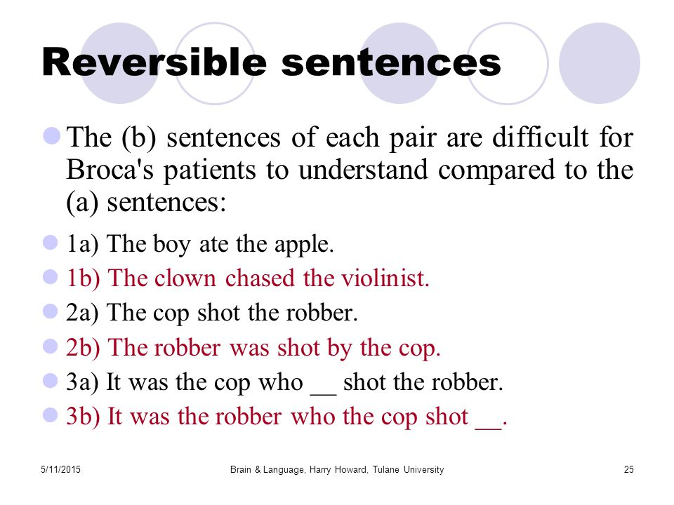 5/11/2015Brain & Language, Harry Howard, Tulane University25 Reversible sentences The (b) sentences of each pair are difficult for Broca s patients to understand compared to the (a) sentences: 1a) The boy ate the apple.