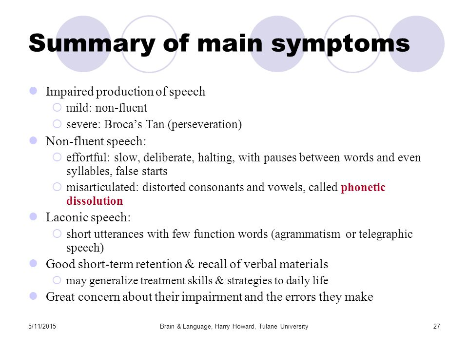5/11/2015Brain & Language, Harry Howard, Tulane University27 Summary of main symptoms Impaired production of speech  mild: non-fluent  severe: Broca's Tan (perseveration) Non-fluent speech:  effortful: slow, deliberate, halting, with pauses between words and even syllables, false starts  misarticulated: distorted consonants and vowels, called phonetic dissolution Laconic speech:  short utterances with few function words (agrammatism or telegraphic speech) Good short-term retention & recall of verbal materials  may generalize treatment skills & strategies to daily life Great concern about their impairment and the errors they make