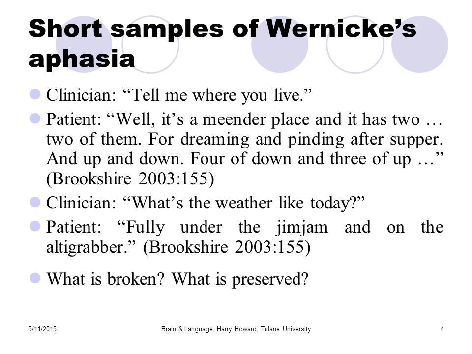 5/11/2015Brain & Language, Harry Howard, Tulane University4 Short samples of Wernicke's aphasia Clinician: Tell me where you live. Patient: Well, it's a meender place and it has two … two of them.