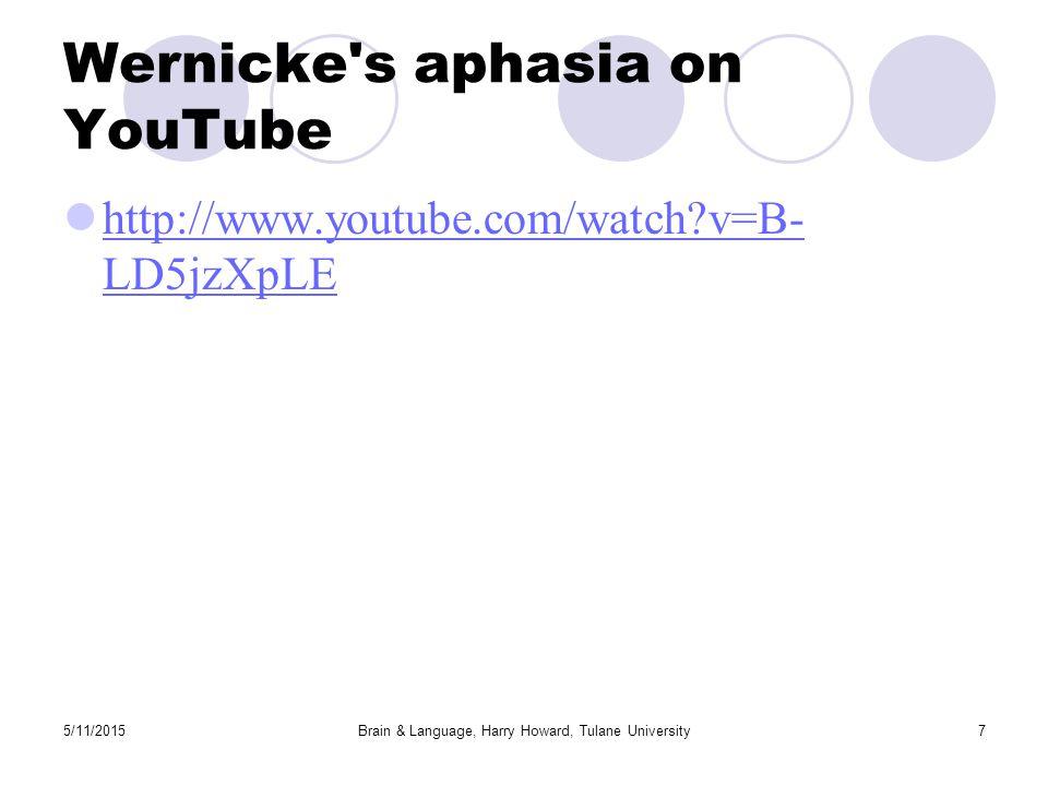 5/11/2015Brain & Language, Harry Howard, Tulane University7 Wernicke s aphasia on YouTube http://www.youtube.com/watch v=B- LD5jzXpLE http://www.youtube.com/watch v=B- LD5jzXpLE