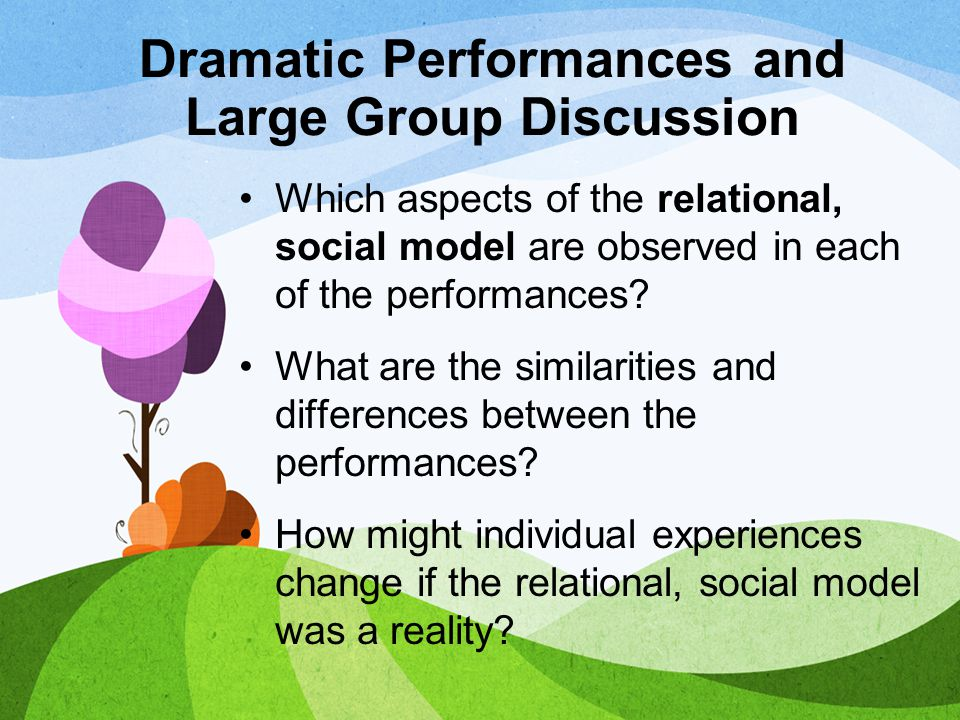 Dramatic Performances and Large Group Discussion Which aspects of the relational, social model are observed in each of the performances? What are the