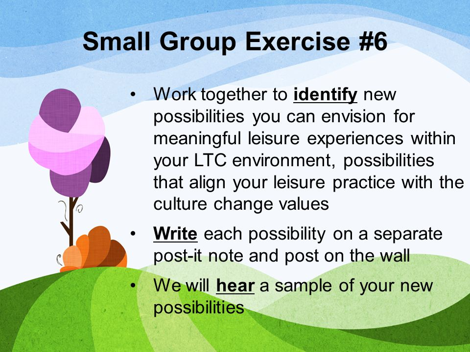 Small Group Exercise #6 Work together to identify new possibilities you can envision for meaningful leisure experiences within your LTC environment, p