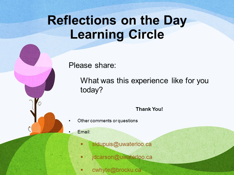 Reflections on the Day Learning Circle Please share: What was this experience like for you today? Thank You! Other comments or questions Email:  sldu