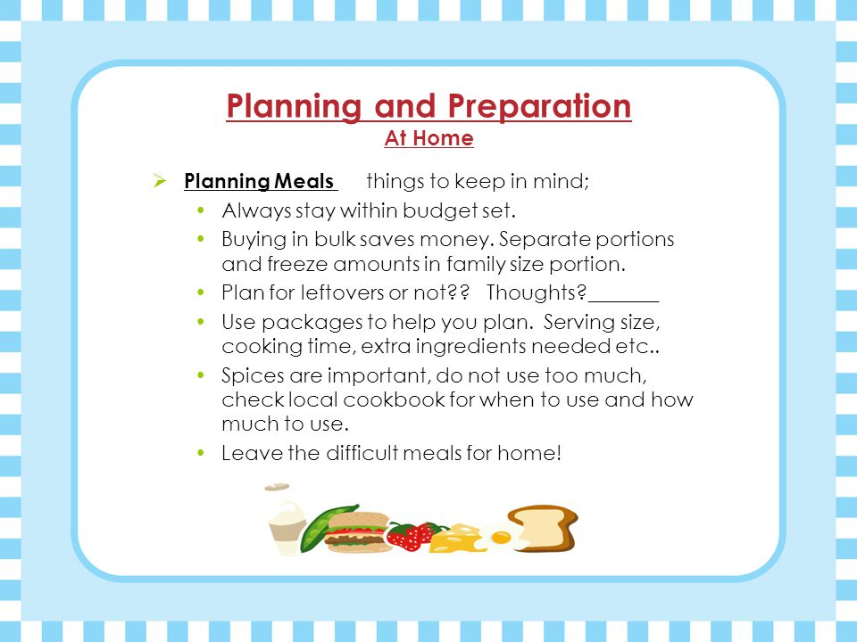 Meal Planning and Preparation Camping & Trail Hike