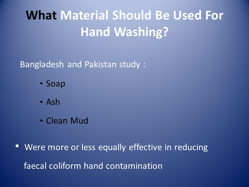 What Material Should Be Used For Hand Washing.