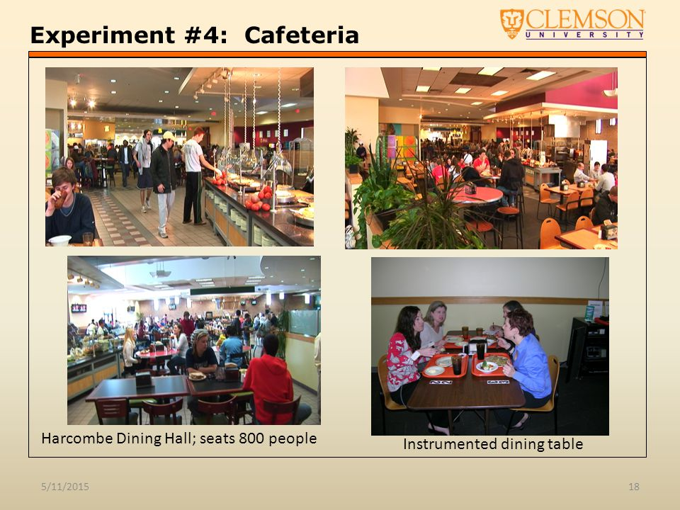 Experiment #4: Cafeteria 5/11/201518 Instrumented dining table Harcombe Dining Hall; seats 800 people