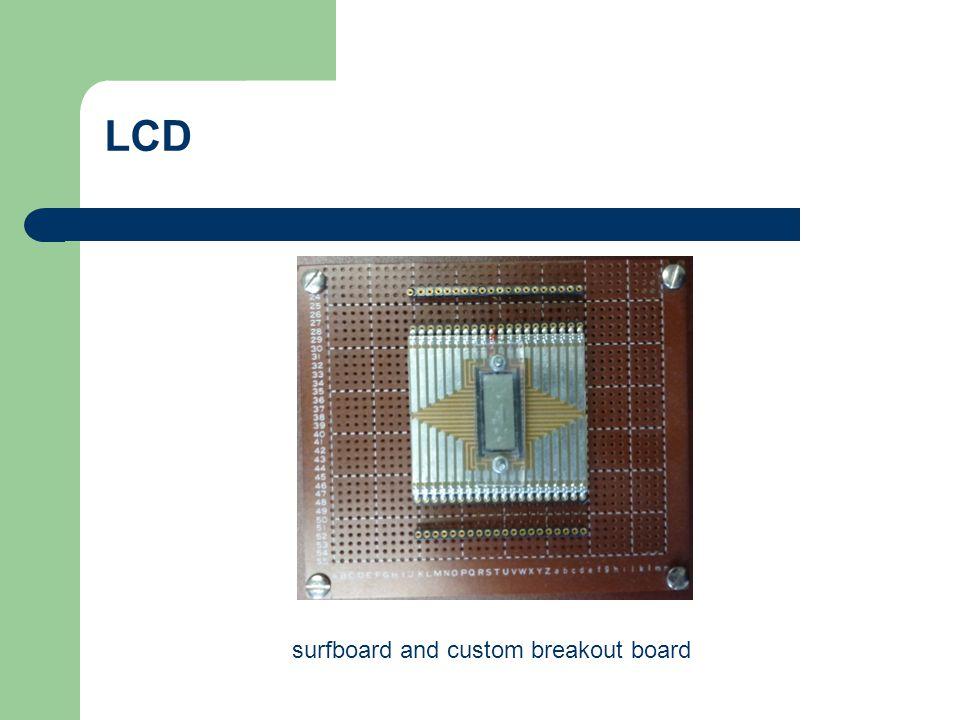 LCD surfboard and custom breakout board