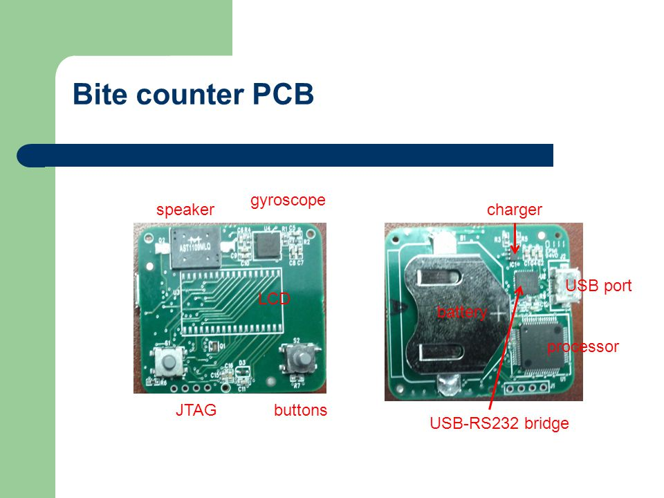Bite counter PCB gyroscope processor LCD battery USB port USB-RS232 bridge speaker buttonsJTAG charger