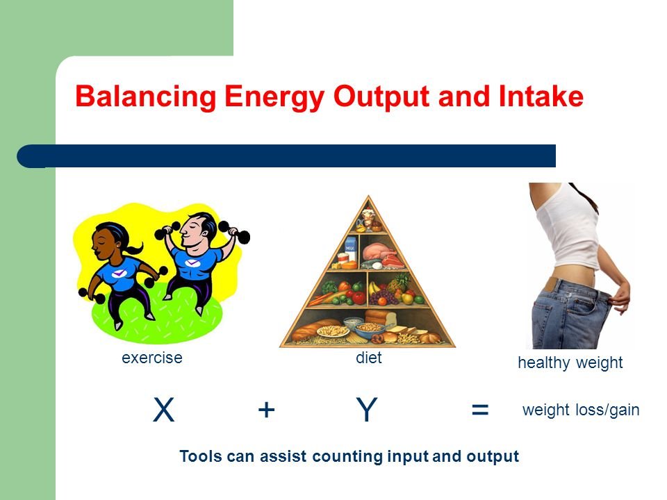 Balancing Energy Output and Intake Tools can assist counting input and output XY+= weight loss/gain exercisediet healthy weight
