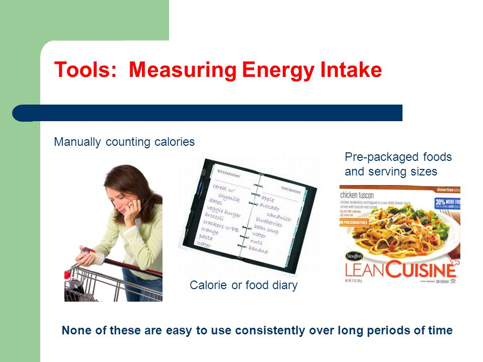 Tools: Measuring Energy Intake Manually counting calories Calorie or food diary Pre-packaged foods and serving sizes None of these are easy to use consistently over long periods of time