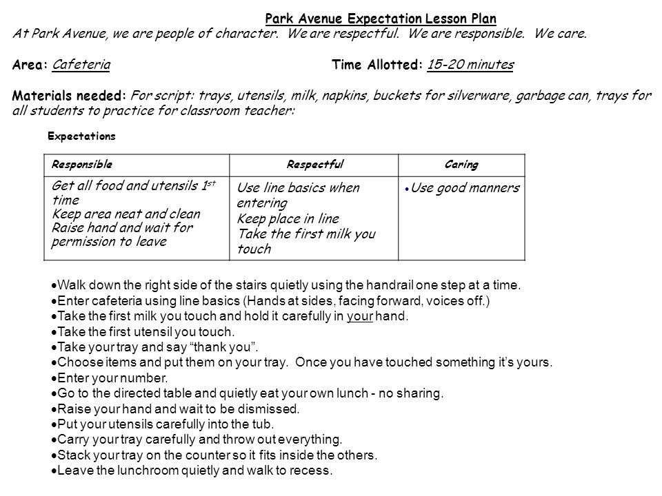 Park Avenue Expectation Lesson Plan At Park Avenue, we are people of character.