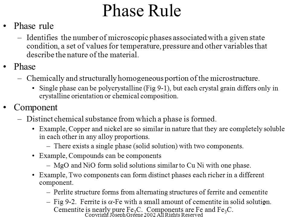 Copyright Joseph Greene 2002 All Rights Reserved 2 Phase Rule Phase rule –Identifies the number of microscopic phases associated with a given state co