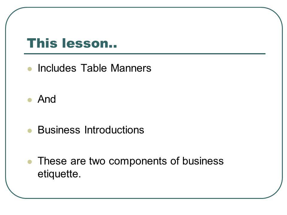 This lesson..