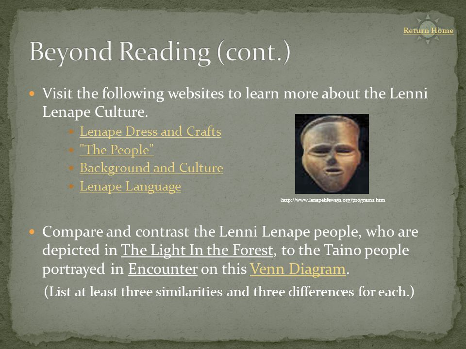 Visit the following websites to learn more about the Lenni Lenape Culture.