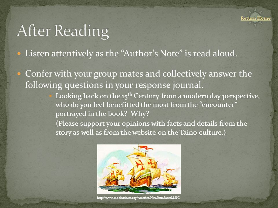 Listen attentively as the Author's Note is read aloud.