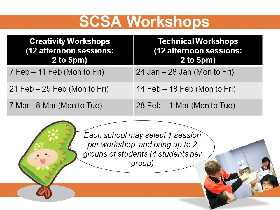 SCSA Workshops Creativity Workshops (12 afternoon sessions: 2 to 5pm) Technical Workshops (12 afternoon sessions: 2 to 5pm) 7 Feb – 11 Feb (Mon to Fri)24 Jan – 28 Jan (Mon to Fri) 21 Feb – 25 Feb (Mon to Fri)14 Feb – 18 Feb (Mon to Fri) 7 Mar - 8 Mar (Mon to Tue)28 Feb – 1 Mar (Mon to Tue) Each school may select 1 session per workshop, and bring up to 2 groups of students (4 students per group)
