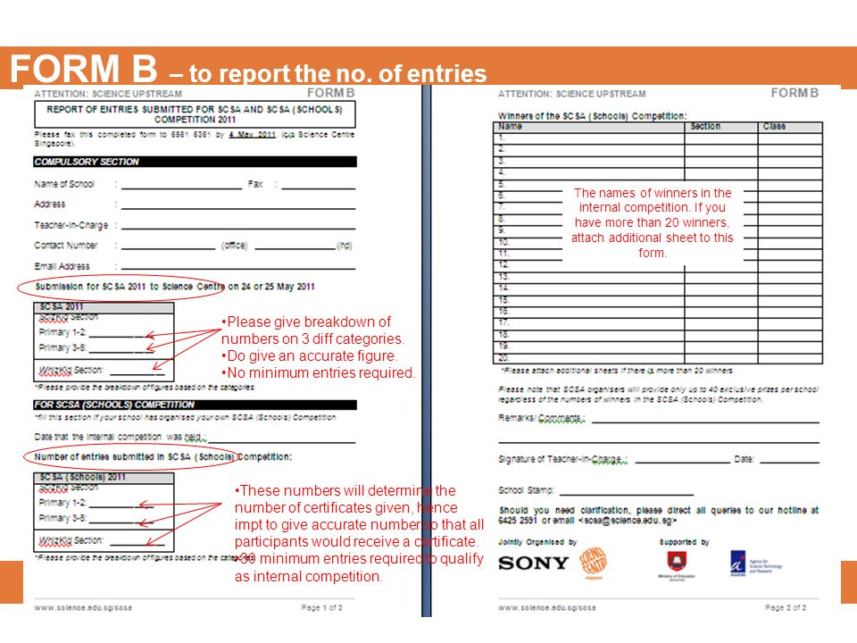 FORM B – to report the no. of entries Please give breakdown of numbers on 3 diff categories.