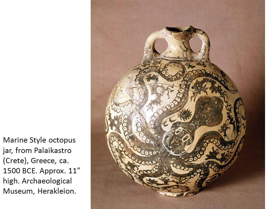 "Marine Style octopus jar, from Palaikastro (Crete), Greece, ca. 1500 BCE. Approx. 11"" high. Archaeological Museum, Herakleion."