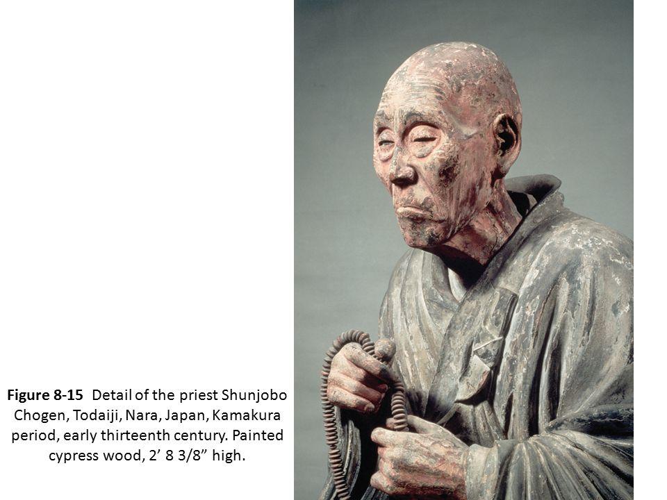 "Figure 8-15 Detail of the priest Shunjobo Chogen, Todaiji, Nara, Japan, Kamakura period, early thirteenth century. Painted cypress wood, 2' 8 3/8"" hig"