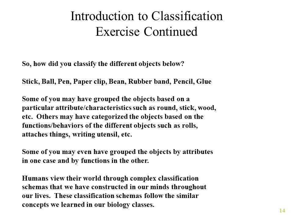 14 Introduction to Classification Exercise Continued So, how did you classify the different objects below.