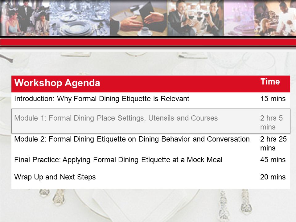 Workshop Agenda Time Introduction: Why Formal Dining Etiquette is Relevant15 mins Module 1: Formal Dining Place Settings, Utensils and Courses2 hrs 5 mins Module 2: Formal Dining Etiquette on Dining Behavior and Conversation2 hrs 25 mins Final Practice: Applying Formal Dining Etiquette at a Mock Meal45 mins Wrap Up and Next Steps20 mins