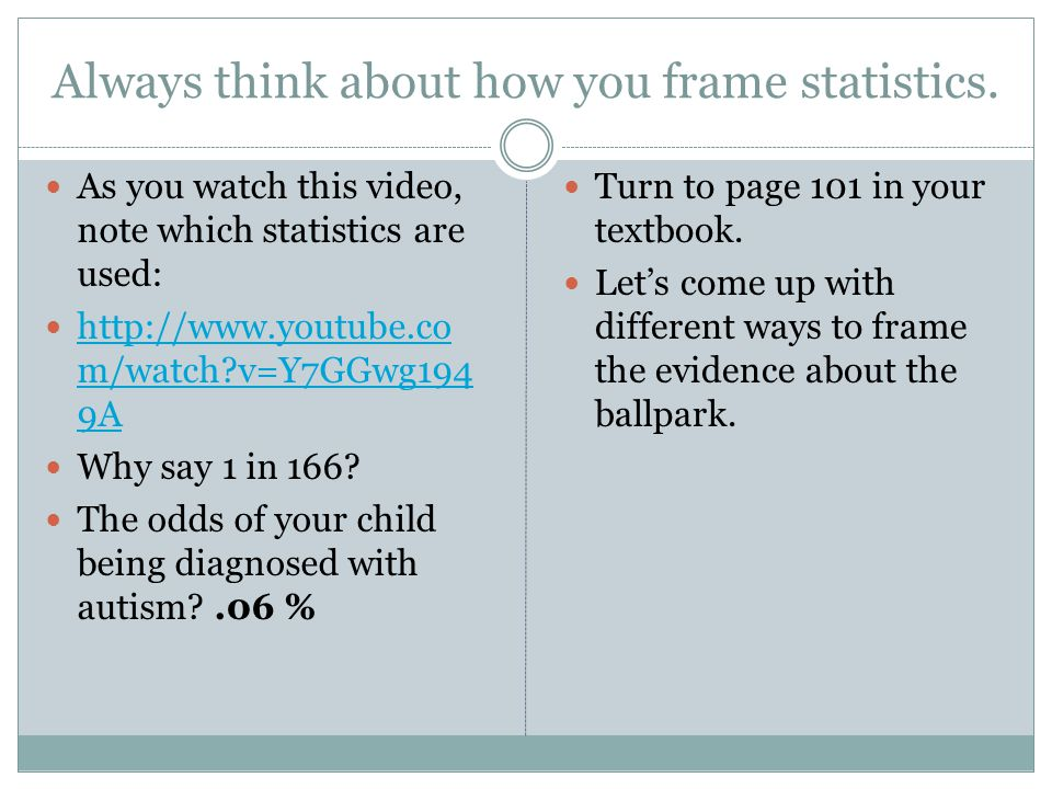 Always think about how you frame statistics.