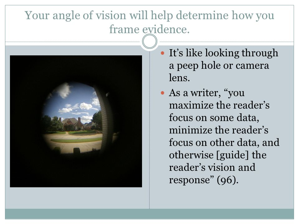 Your angle of vision will help determine how you frame evidence.
