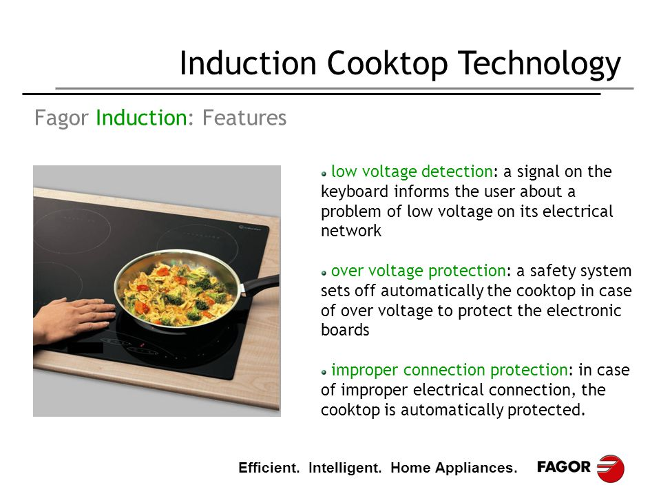 Efficient. Intelligent. Home Appliances. Induction Cooktop Technology Fagor Induction: Features low voltage detection: a signal on the keyboard inform