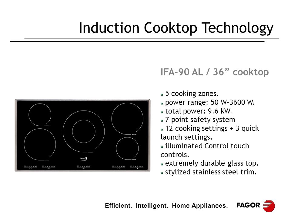 "Efficient. Intelligent. Home Appliances. Induction Cooktop Technology IFA-90 AL / 36"" cooktop 5 cooking zones. power range: 50 W-3600 W. total power:"