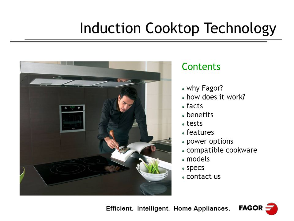 Efficient. Intelligent. Home Appliances. Induction Cooktop Technology Contents why Fagor? how does it work? facts benefits tests features power option