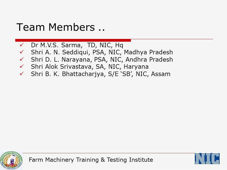 Farm Machinery Training & Testing Institute Dr M.V.S. Sarma, TD, NIC, Hq Shri A. N. Seddiqui, PSA, NIC, Madhya Pradesh Shri D. L. Narayana, PSA, NIC,