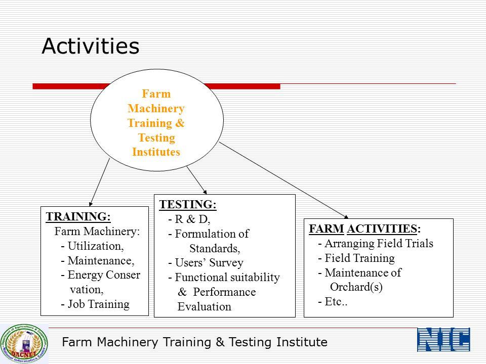 Activities Farm Machinery Training & Testing Institutes TRAINING: Farm Machinery: - Utilization, - Maintenance, - Energy Conser vation, - Job Training