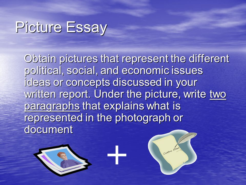 Picture Essay Obtain pictures that represent the different political, social, and economic issues ideas or concepts discussed in your written report.