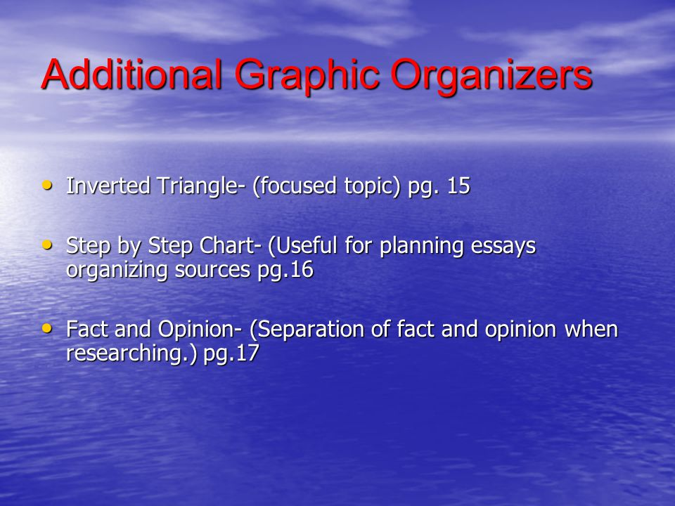 Additional Graphic Organizers Inverted Triangle- (focused topic) pg. 15 Inverted Triangle- (focused topic) pg. 15 Step by Step Chart- (Useful for plan