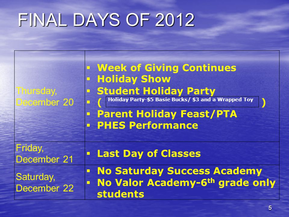 FINAL DAYS OF 2012 Thursday, December 20  Week of Giving Continues  Holiday Show  Student Holiday Party  ( )  Parent Holiday Feast/PTA  PHES Performance Friday, December 21  Last Day of Classes Saturday, December 22  No Saturday Success Academy  No Valor Academy-6 th grade only students 5 Holiday Party-$5 Basie Bucks/ $3 and a Wrapped Toy