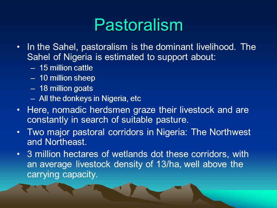 Pastoralism In the Sahel, pastoralism is the dominant livelihood.