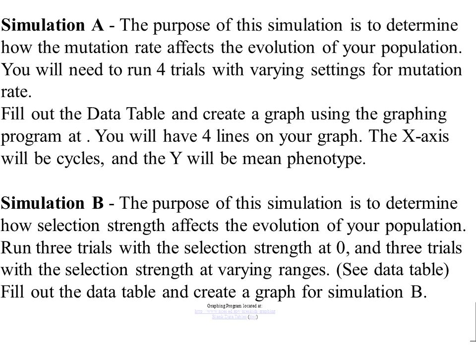 Simulation A - The purpose of this simulation is to determine how the mutation rate affects the evolution of your population. You will need to run 4 t