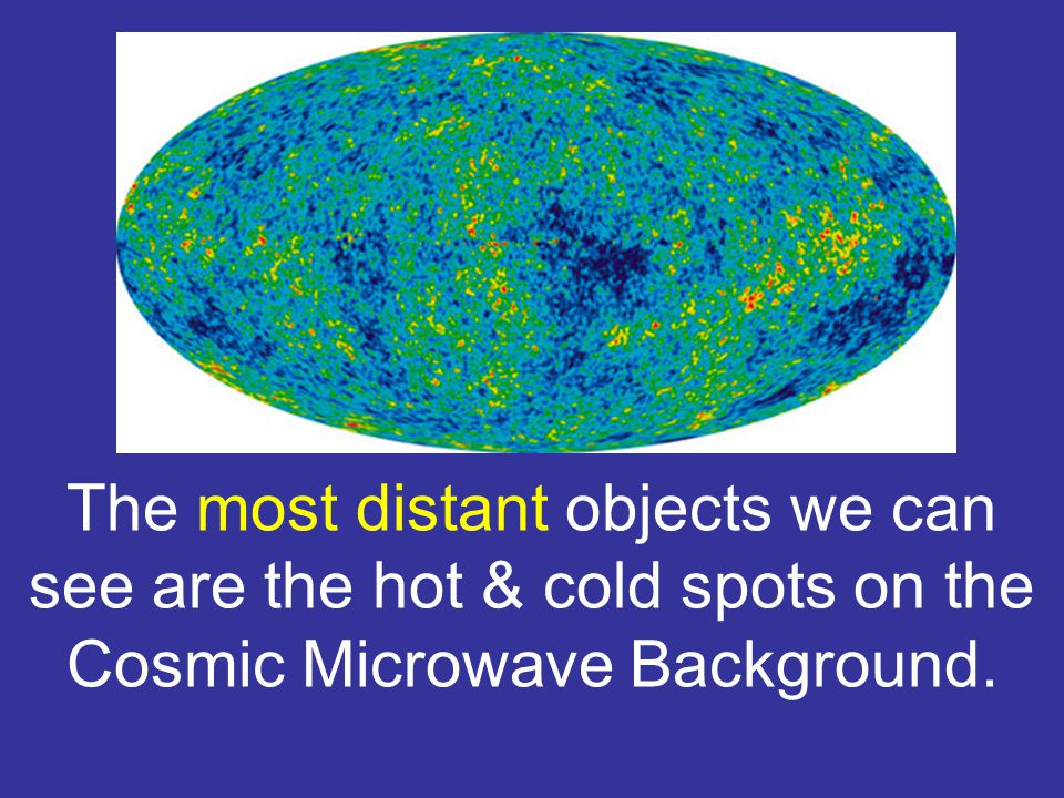 The most distant objects we can see are the hot & cold spots on the Cosmic Microwave Background.