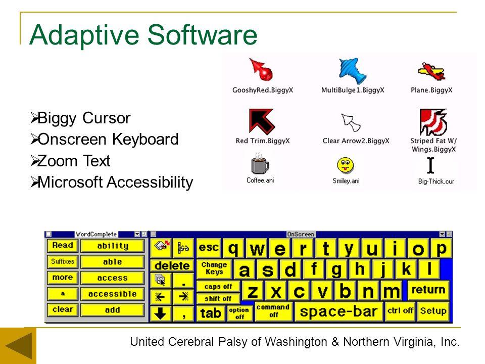 Adaptive Software United Cerebral Palsy of Washington & Northern Virginia, Inc.  Biggy Cursor  Onscreen Keyboard  Zoom Text  Microsoft Accessibili