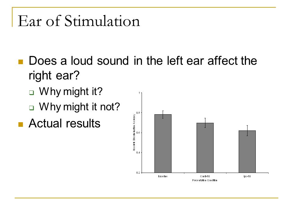 Ear of Stimulation Does a loud sound in the left ear affect the right ear.