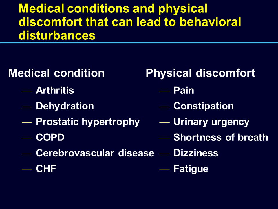 Medical conditions and physical discomfort that can lead to behavioral disturbances Physical discomfort — Pain — Constipation — Urinary urgency — Shortness of breath — Dizziness — Fatigue Medical condition — Arthritis — Dehydration — Prostatic hypertrophy — COPD — Cerebrovascular disease — CHF