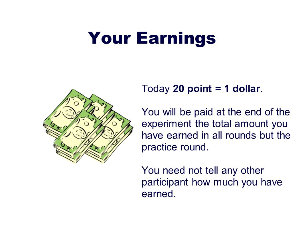 Your Earnings Today 20 point = 1 dollar.