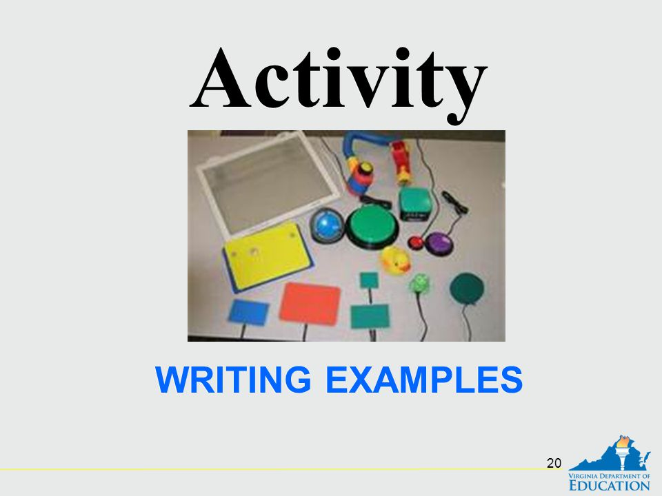 WRITING EXAMPLES Activity 20