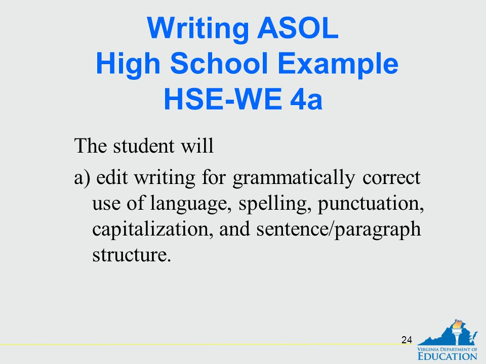Writing ASOL High School Example HSE-WE 4a The student will a) edit writing for grammatically correct use of language, spelling, punctuation, capitali