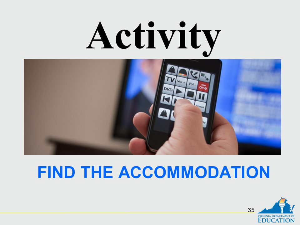 FIND THE ACCOMMODATION Activity 35