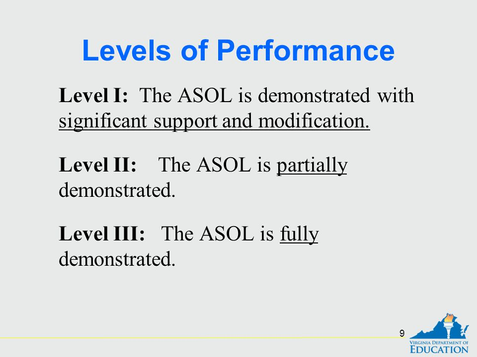 Levels of Performance Level I: The ASOL is demonstrated with significant support and modification. Level II: The ASOL is partially demonstrated. Level