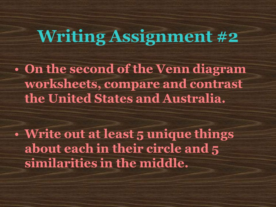 Writing Assignment #2 On the second of the Venn diagram worksheets, compare and contrast the United States and Australia.